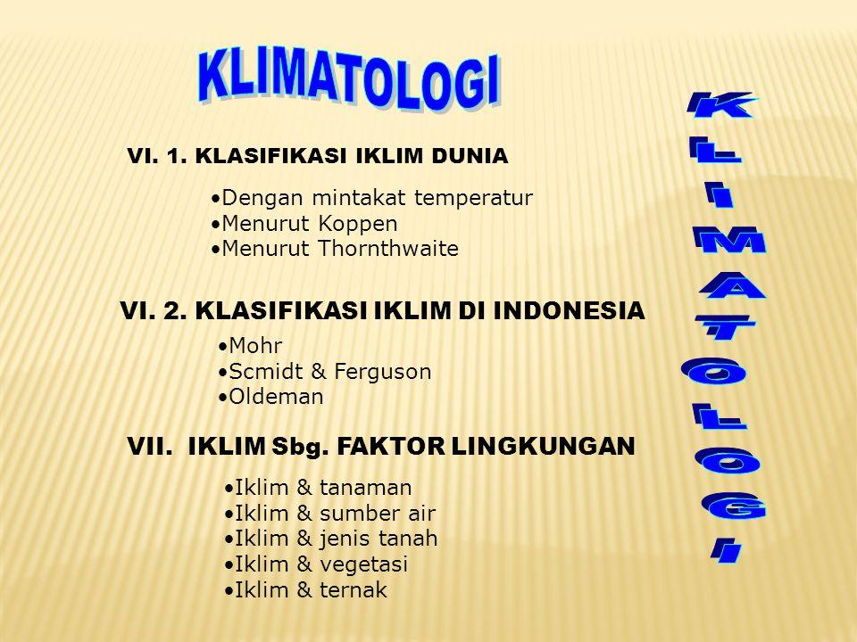 VI. 1. KLASIFIKASI IKLIM DUNIA •Dengan mintakat temperatur •Menurut Koppen •Menurut Thornthwaite VI. 2. KLASIFIKASI IKLIM DI INDONESIA •Mohr •Scmidt &