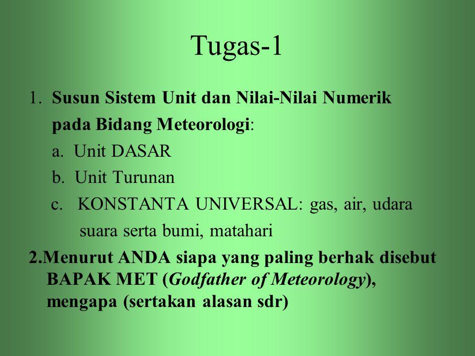 Tugas-1 1. Susun Sistem Unit dan Nilai-Nilai Numerik pada Bidang Meteorologi: a. Unit DASAR b. Unit Turunan c. KONSTANTA UNIVERSAL: gas, air, udara su