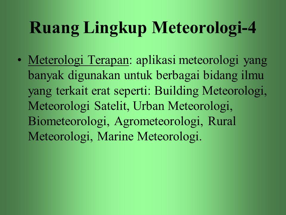 Ruang Lingkup Meteorologi-4 •Meterologi Terapan: aplikasi meteorologi yang banyak digunakan untuk berbagai bidang ilmu yang terkait erat seperti: Buil