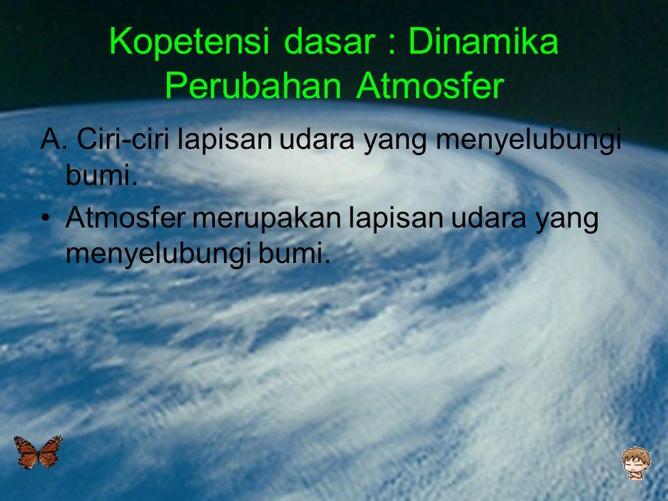 Kopetensi dasar : Dinamika Perubahan Atmosfer A. Ciri-ciri lapisan udara yang menyelubungi bumi. •Atmosfer merupakan lapisan udara yang menyelubungi b
