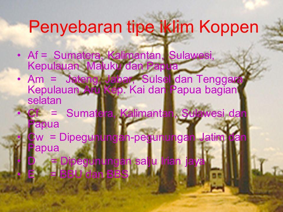 Penyebaran tipe iklim Koppen •Af = Sumatera, Kalimantan, Sulawesi, Kepulauan Maluku dan Papua •Am = Jateng, Jabar, Sulsel dan Tenggara Kepulauan Aru K