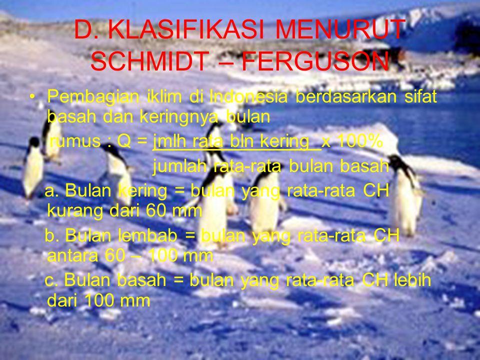 D. KLASIFIKASI MENURUT SCHMIDT – FERGUSON •Pembagian iklim di Indonesia berdasarkan sifat basah dan keringnya bulan rumus : Q = jmlh rata bln kering x