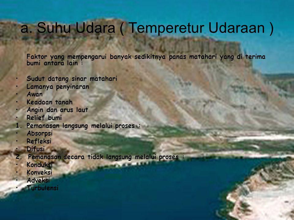 a. Suhu Udara ( Temperetur Udaraan ) Faktor yang mempengarui banyak sedikitnya panas matahari yang di terima bumi antara lain : •Sudut datang sinar ma