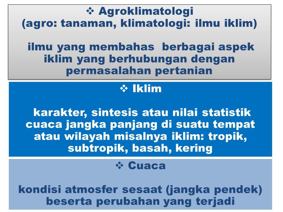  Agroklimatologi (agro: tanaman, klimatologi: ilmu iklim) ilmu yang membahas berbagai aspek iklim yang berhubungan dengan permasalahan pertanian  Ag