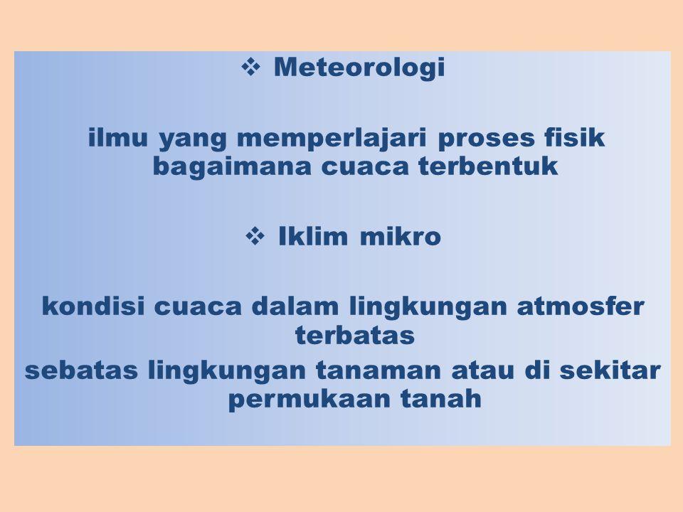  Meteorologi ilmu yang memperlajari proses fisik bagaimana cuaca terbentuk  Iklim mikro kondisi cuaca dalam lingkungan atmosfer terbatas sebatas lin