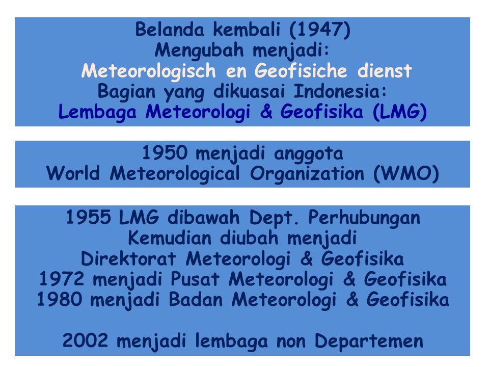 Belanda kembali (1947) Mengubah menjadi: Meteorologisch en Geofisiche dienst Bagian yang dikuasai Indonesia: Lembaga Meteorologi & Geofisika (LMG) 195