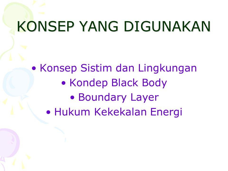 KONSEP YANG DIGUNAKAN •Konsep Sistim dan Lingkungan •Kondep Black Body •Boundary Layer •Hukum Kekekalan Energi
