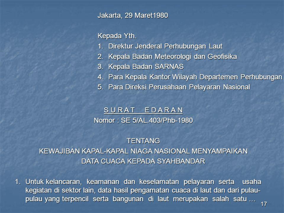 17 Jakarta, 29 Maret1980 Kepada Yth. 1.Direktur Jenderal Perhubungan Laut 2.Kepala Badan Meteorologi dan Geofisika 3.Kepala Badan SARNAS 4.Para Kepala