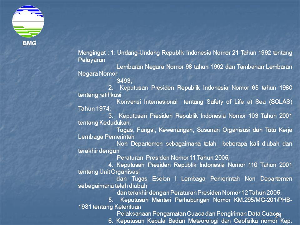 21 BMG Mengingat : 1. Undang-Undang Republik Indonesia Nomor 21 Tahun 1992 tentang Pelayaran Lembaran Negara Nomor 98 tahun 1992 dan Tambahan Lembaran