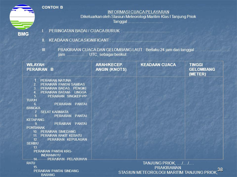 38 BMG CONTOH B INFORMASI CUACA PELAYARAN Dikeluarkan oleh Stasiun Meteorologi Maritim Klas I Tanjung Priok Tanggal ……………………… I.PERINGATAN BADAI / CUA