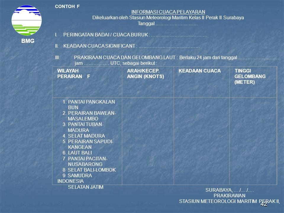 42 BMG CONTOH F INFORMASI CUACA PELAYARAN Dikeluarkan oleh Stasiun Meteorologi Maritim Kelas II Perak II Surabaya Tanggal ……………………… I.PERINGATAN BADAI