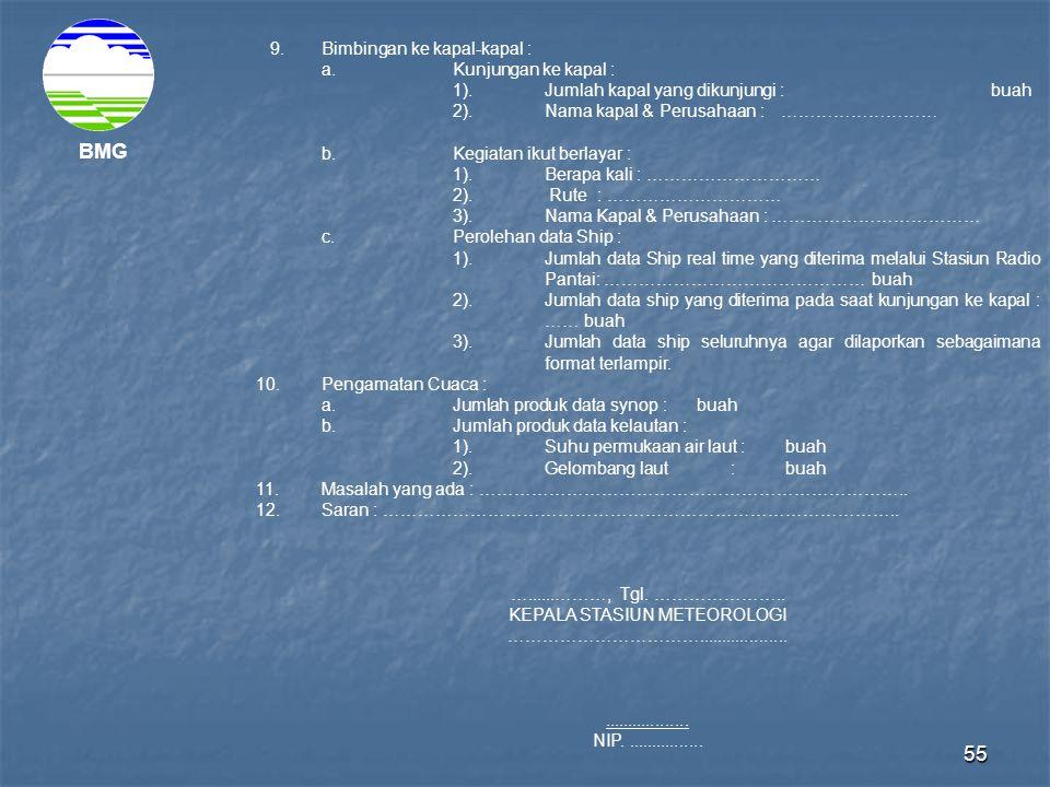 55 BMG 9.Bimbingan ke kapal-kapal : a.Kunjungan ke kapal : 1).Jumlah kapal yang dikunjungi : buah 2).Nama kapal & Perusahaan : ……………………… b.Kegiatan ik