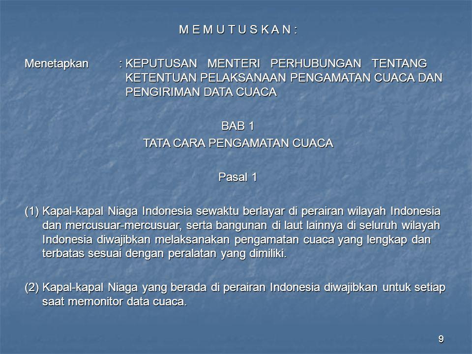 40 BMG CONTOH D INFORMASI CUACA PELAYARAN Dikeluarkan oleh Stasiun Meteorologi Maritim Klas II Semarang Tanggal ……………………… I.PERINGATAN BADAI / CUACA BURUK : ……………………………… II.KEADAAN CUACA SIGNIFICANT : ………………………………… III.PRAKIRAAN CUACA DAN GELOMBANG LAUT : Berlaku 24 jam dari tanggal ……………………… jam …………….