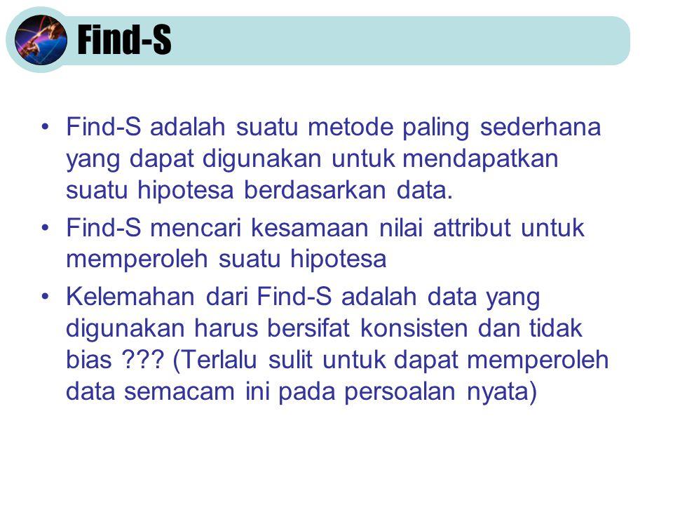Find-S •Find-S adalah suatu metode paling sederhana yang dapat digunakan untuk mendapatkan suatu hipotesa berdasarkan data.