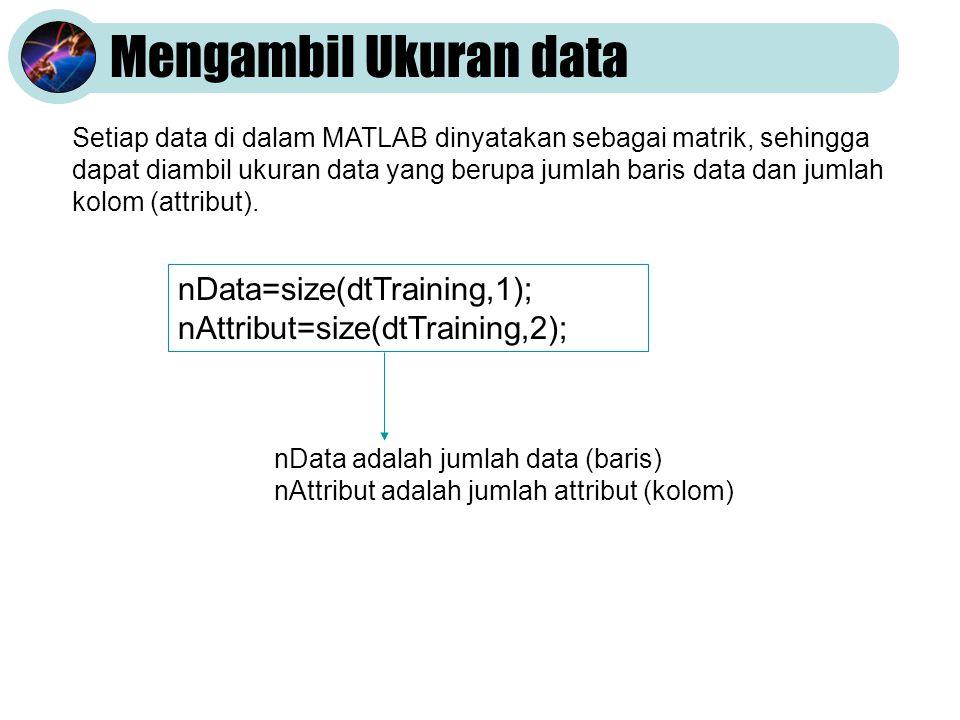 Mengambil Ukuran data Setiap data di dalam MATLAB dinyatakan sebagai matrik, sehingga dapat diambil ukuran data yang berupa jumlah baris data dan jumlah kolom (attribut).