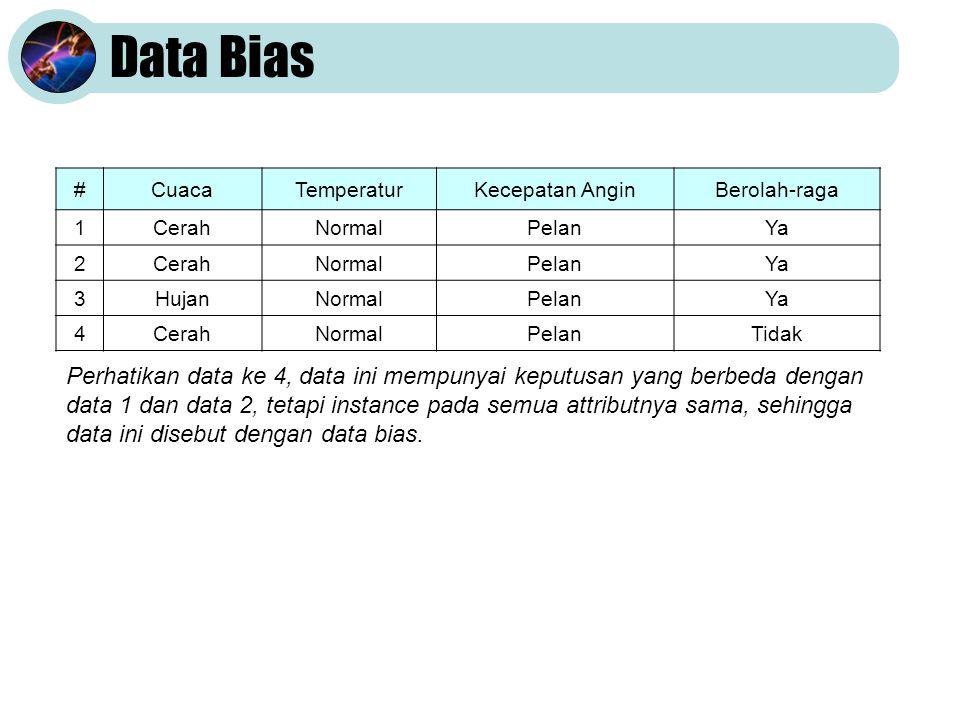 Data Bias #CuacaTemperaturKecepatan AnginBerolah-raga 1CerahNormalPelanYa 2CerahNormalPelanYa 3HujanNormalPelanYa 4CerahNormalPelanTidak Perhatikan data ke 4, data ini mempunyai keputusan yang berbeda dengan data 1 dan data 2, tetapi instance pada semua attributnya sama, sehingga data ini disebut dengan data bias.