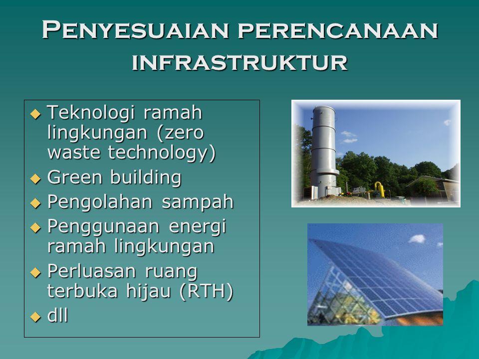 Penyesuaian perencanaan infrastruktur  Teknologi ramah lingkungan (zero waste technology)  Green building  Pengolahan sampah  Penggunaan energi ramah lingkungan  Perluasan ruang terbuka hijau (RTH)  dll