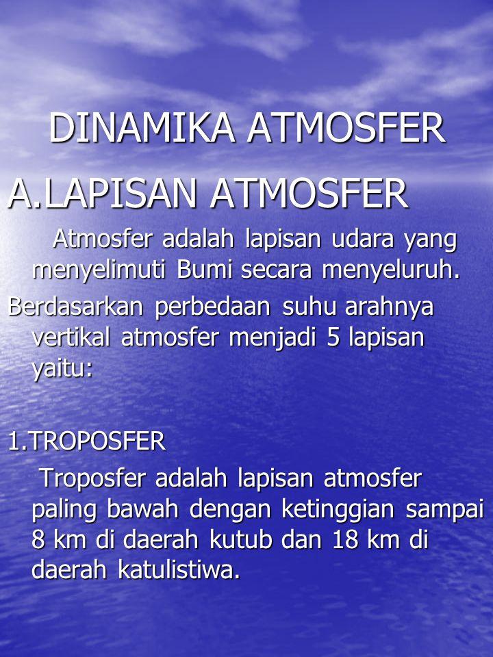 DINAMIKA ATMOSFER A.LAPISAN ATMOSFER Atmosfer adalah lapisan udara yang menyelimuti Bumi secara menyeluruh. Atmosfer adalah lapisan udara yang menyeli