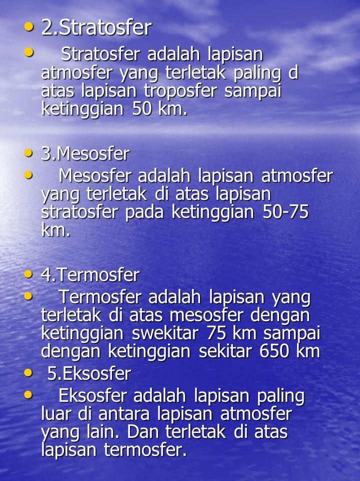 • 2.Stratosfer • Stratosfer adalah lapisan atmosfer yang terletak paling d atas lapisan troposfer sampai ketinggian 50 km. • 3.Mesosfer • Mesosfer ada