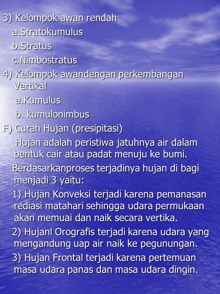 3) Kelompok awan rendah a.Stratokumulus a.Stratokumulus b.Stratus b.Stratus c.Nimbostratus c.Nimbostratus 4) Kelompok awandengan perkembangan Vertikal