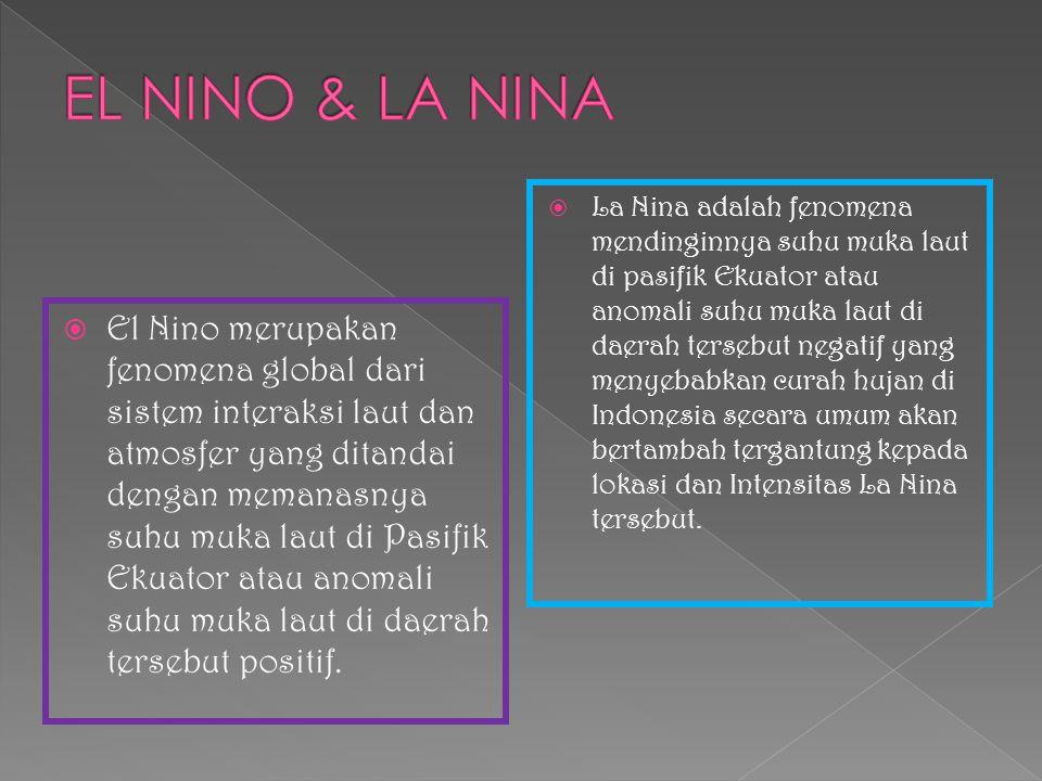  El Nino merupakan fenomena global dari sistem interaksi laut dan atmosfer yang ditandai dengan memanasnya suhu muka laut di Pasifik Ekuator atau ano