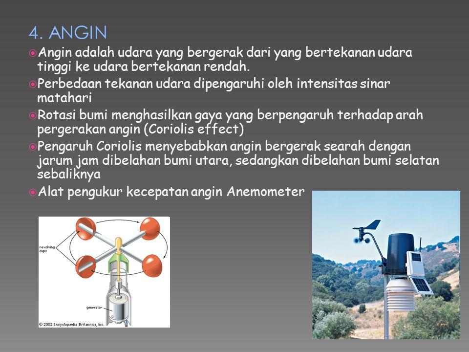 4. ANGIN  Angin adalah udara yang bergerak dari yang bertekanan udara tinggi ke udara bertekanan rendah.  Perbedaan tekanan udara dipengaruhi oleh i