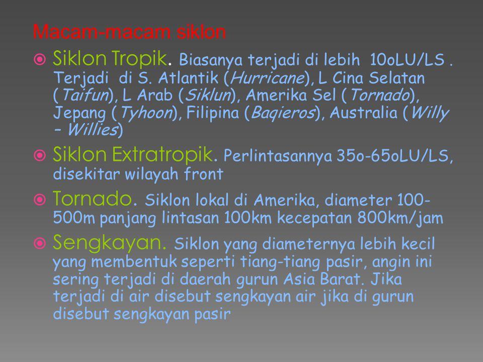 Macam-macam siklon  Siklon Tropik. Biasanya terjadi di lebih 10oLU/LS. Terjadi di S. Atlantik (Hurricane), L Cina Selatan (Taifun), L Arab (Siklun),