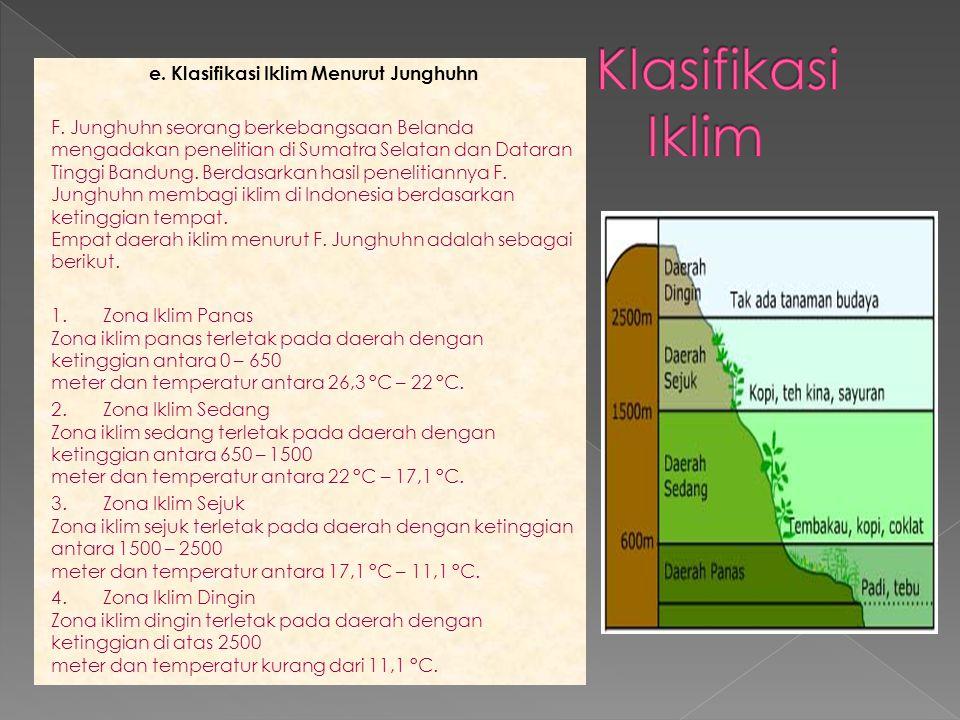 e. Klasifikasi Iklim Menurut Junghuhn F. Junghuhn seorang berkebangsaan Belanda mengadakan penelitian di Sumatra Selatan dan Dataran Tinggi Bandung. B