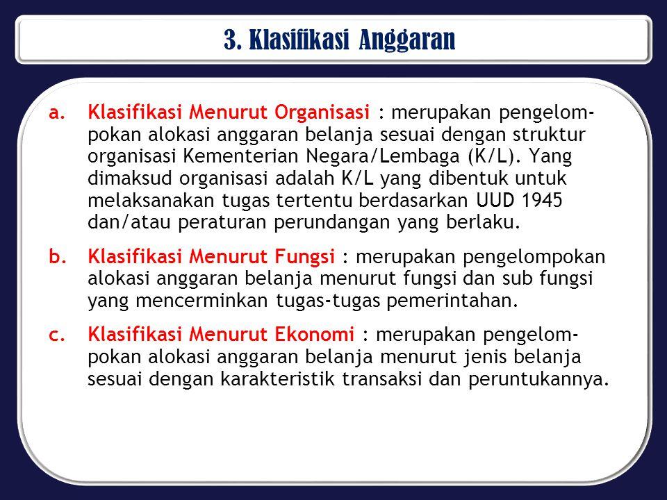 3. Klasifikasi Anggaran a.Klasifikasi Menurut Organisasi : merupakan pengelom- pokan alokasi anggaran belanja sesuai dengan struktur organisasi Kement