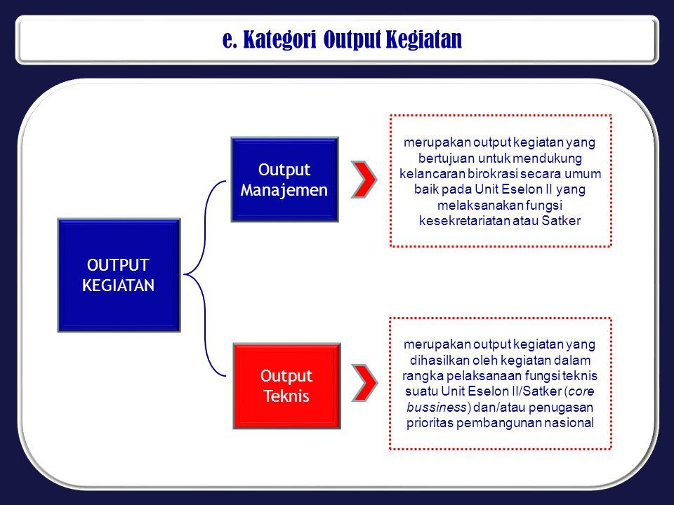 e. Kategori Output Kegiatan OUTPUT KEGIATAN Output Manajemen merupakan output kegiatan yang bertujuan untuk mendukung kelancaran birokrasi secara umum