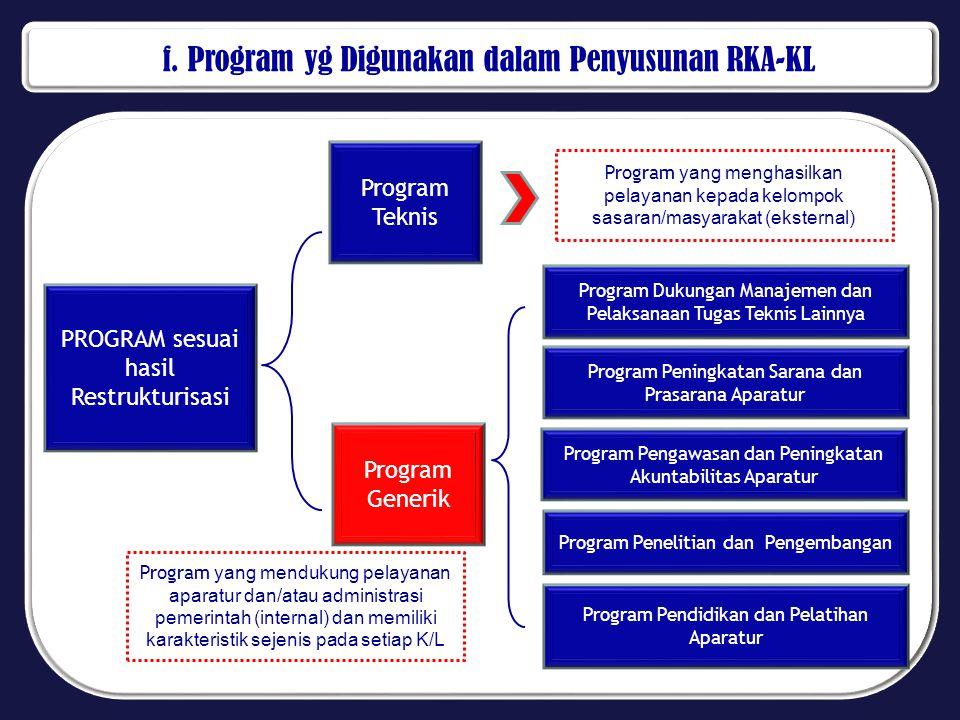 f. Program yg Digunakan dalam Penyusunan RKA-KL PROGRAM sesuai hasil Restrukturisasi Program Teknis Program yang menghasilkan pelayanan kepada kelompo
