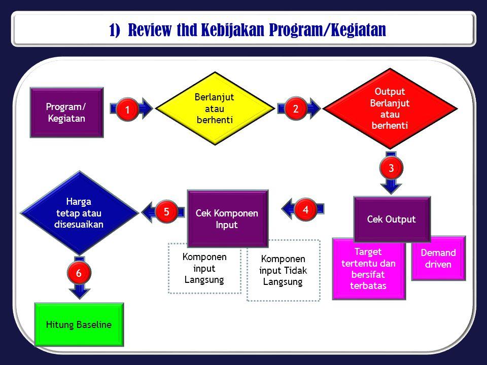 1) Review thd Kebijakan Program/Kegiatan Program/ Kegiatan Berlanjut atau berhenti Output Berlanjut atau berhenti Target tertentu dan bersifat terbata