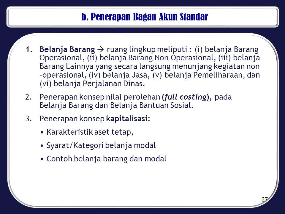 b. Penerapan Bagan Akun Standar 1.Belanja Barang  ruang lingkup meliputi : (i) belanja Barang Operasional, (ii) belanja Barang Non Operasional, (iii)