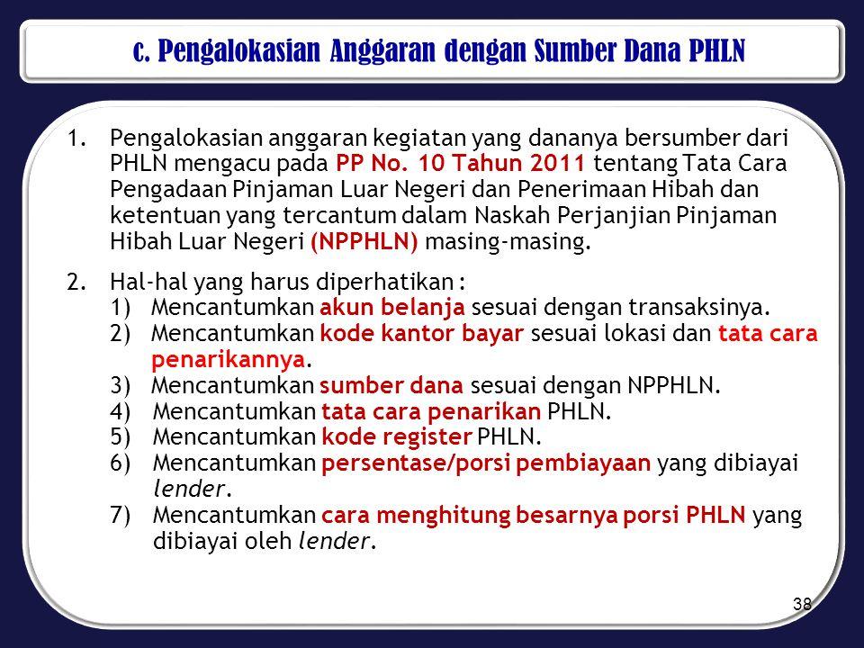 c. Pengalokasian Anggaran dengan Sumber Dana PHLN 1.Pengalokasian anggaran kegiatan yang dananya bersumber dari PHLN mengacu pada PP No. 10 Tahun 2011