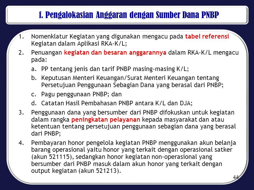f. Pengalokasian Anggaran dengan Sumber Dana PNBP 1.Nomenklatur Kegiatan yang digunakan mengacu pada tabel referensi Kegiatan dalam Aplikasi RKA-K/L;