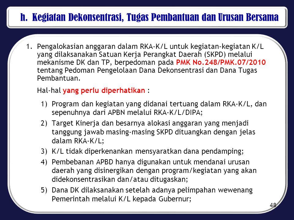 h. Kegiatan Dekonsentrasi, Tugas Pembantuan dan Urusan Bersama 1.Pengalokasian anggaran dalam RKA-K/L untuk kegiatan-kegiatan K/L yang dilaksanakan Sa