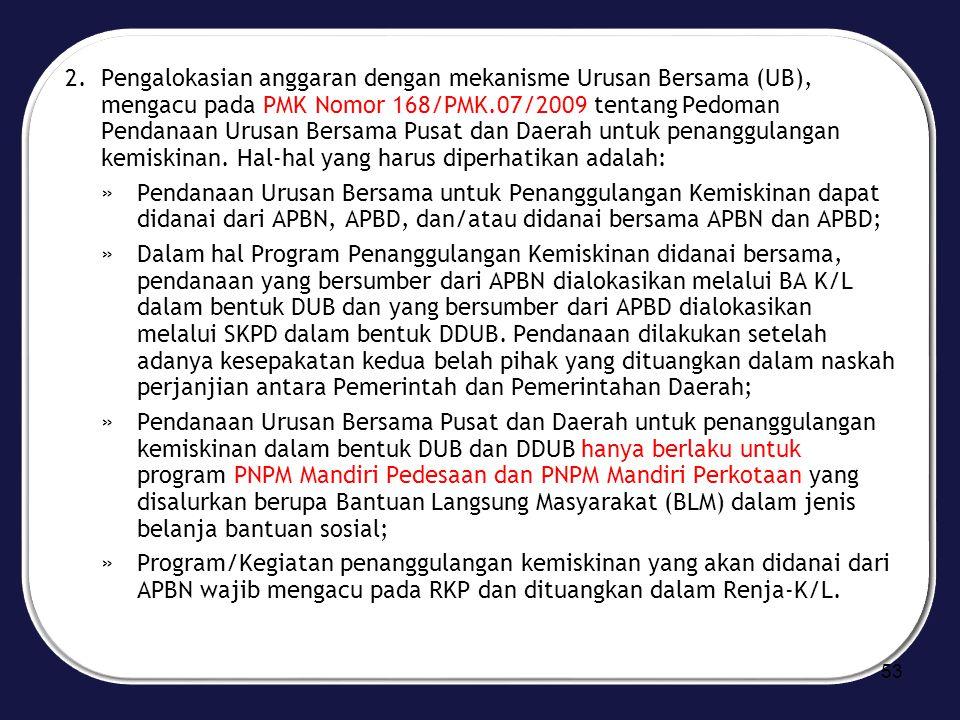 2.Pengalokasian anggaran dengan mekanisme Urusan Bersama (UB), mengacu pada PMK Nomor 168/PMK.07/2009 tentang Pedoman Pendanaan Urusan Bersama Pusat d