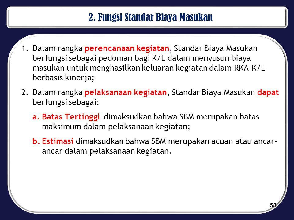 2. Fungsi Standar Biaya Masukan 1.Dalam rangka perencanaan kegiatan, Standar Biaya Masukan berfungsi sebagai pedoman bagi K/L dalam menyusun biaya mas