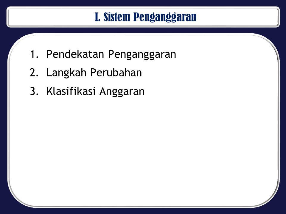 I. Sistem Penganggaran 1.Pendekatan Penganggaran 2.Langkah Perubahan 3.Klasifikasi Anggaran