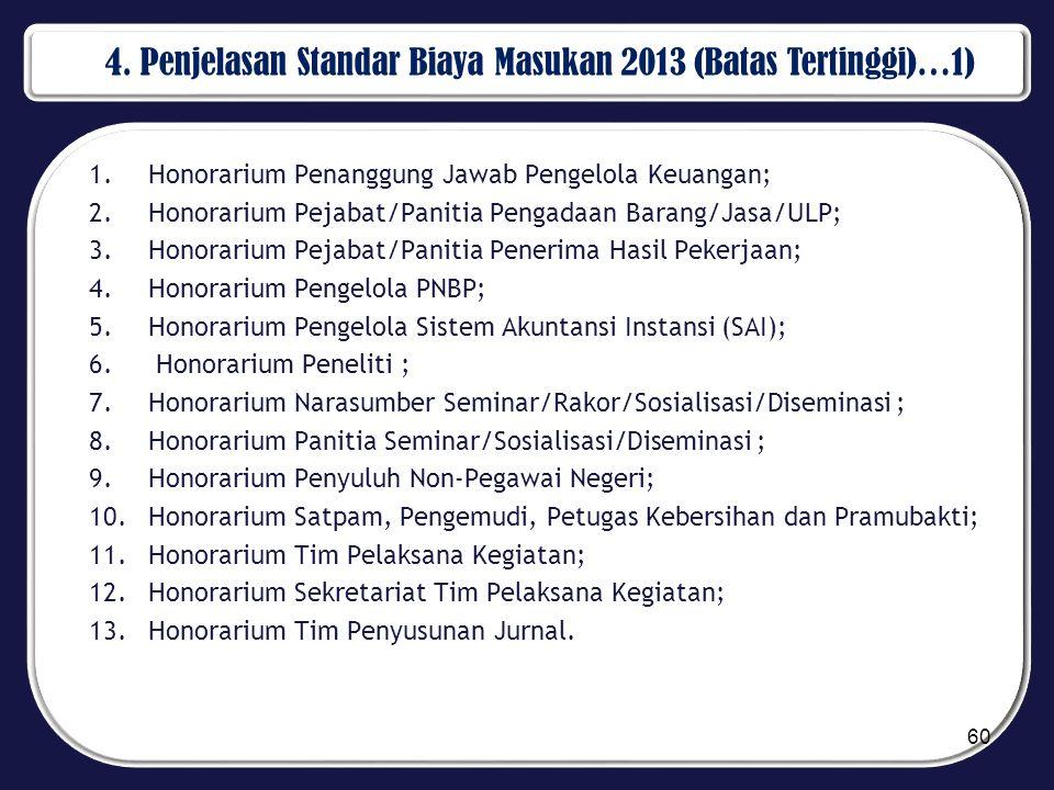 4. Penjelasan Standar Biaya Masukan 2013 (Batas Tertinggi)…1) 1.Honorarium Penanggung Jawab Pengelola Keuangan; 2.Honorarium Pejabat/Panitia Pengadaan