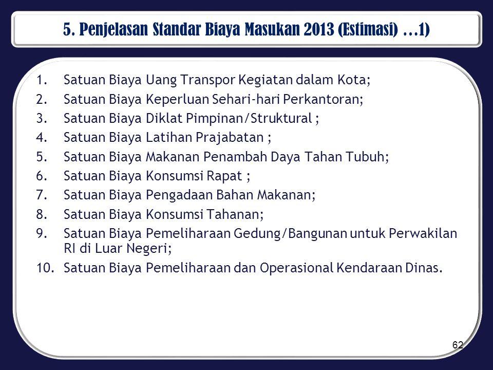 5. Penjelasan Standar Biaya Masukan 2013 (Estimasi) …1) 1.Satuan Biaya Uang Transpor Kegiatan dalam Kota; 2.Satuan Biaya Keperluan Sehari-hari Perkant