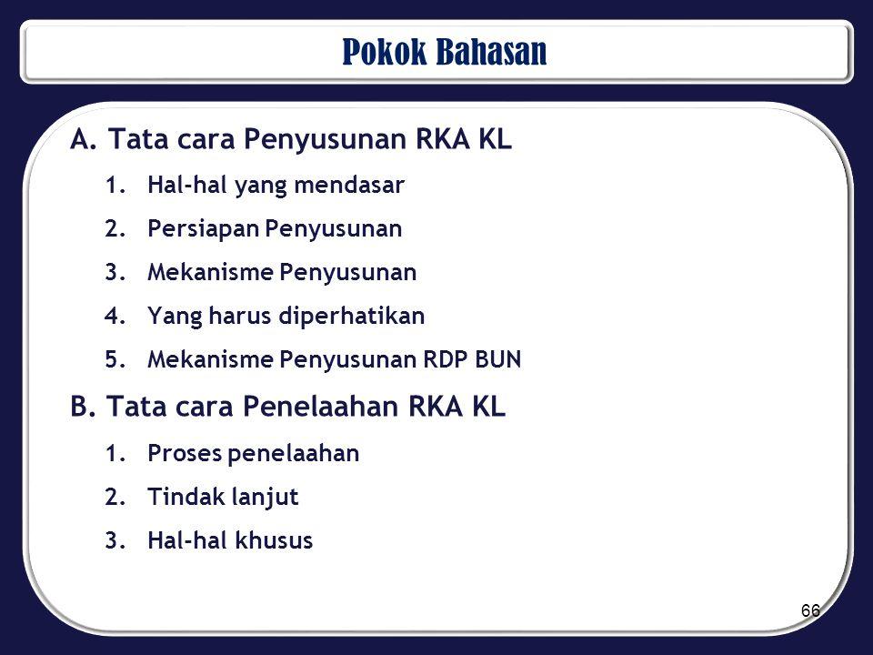 Pokok Bahasan A. Tata cara Penyusunan RKA KL 1.Hal-hal yang mendasar 2.Persiapan Penyusunan 3.Mekanisme Penyusunan 4.Yang harus diperhatikan 5.Mekanis