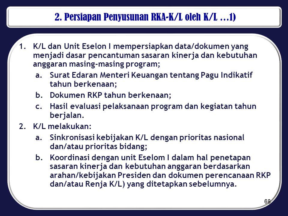 2. Persiapan Penyusunan RKA-K/L oleh K/L …1) 1.K/L dan Unit Eselon I mempersiapkan data/dokumen yang menjadi dasar pencantuman sasaran kinerja dan keb