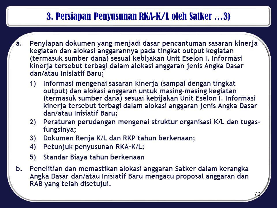 3. Persiapan Penyusunan RKA-K/L oleh Satker …3) a.Penyiapan dokumen yang menjadi dasar pencantuman sasaran kinerja kegiatan dan alokasi anggarannya pa