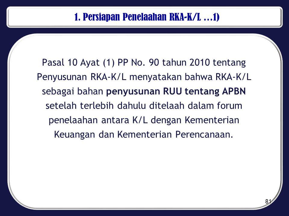 1. Persiapan Penelaahan RKA-K/L …1) Pasal 10 Ayat (1) PP No. 90 tahun 2010 tentang Penyusunan RKA-K/L menyatakan bahwa RKA-K/L sebagai bahan penyusuna