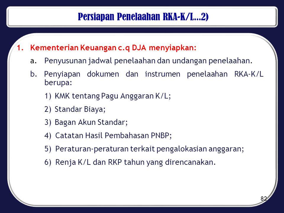 Persiapan Penelaahan RKA-K/L...2) 1.Kementerian Keuangan c.q DJA menyiapkan: a. Penyusunan jadwal penelaahan dan undangan penelaahan. b. Penyiapan dok