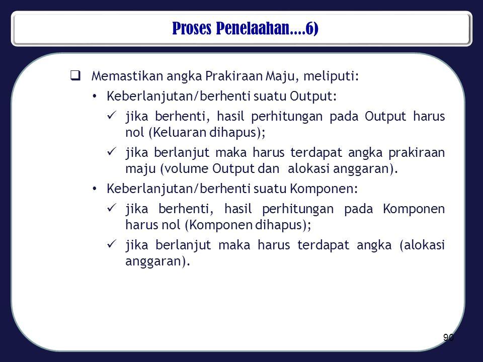 Proses Penelaahan....6)  Memastikan angka Prakiraan Maju, meliputi: • Keberlanjutan/berhenti suatu Output:  jika berhenti, hasil perhitungan pada Ou