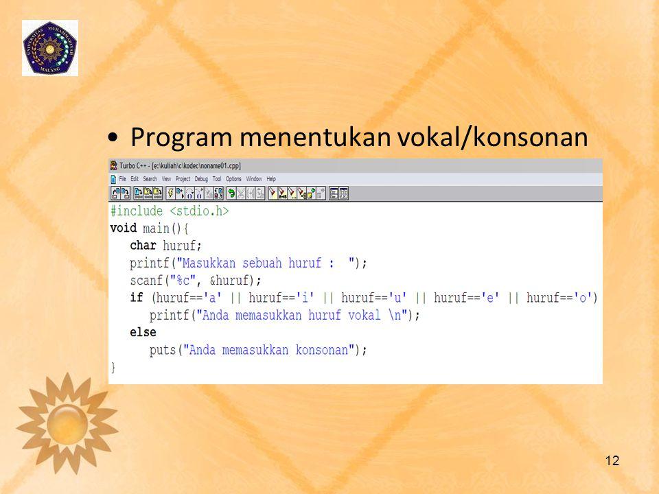 •Program menentukan vokal/konsonan 12