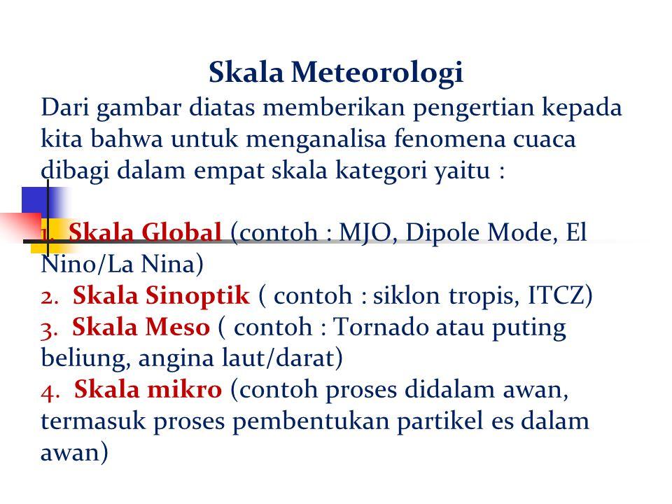 Dari gambar diatas memberikan pengertian kepada kita bahwa untuk menganalisa fenomena cuaca dibagi dalam empat skala kategori yaitu : 1. Skala Global