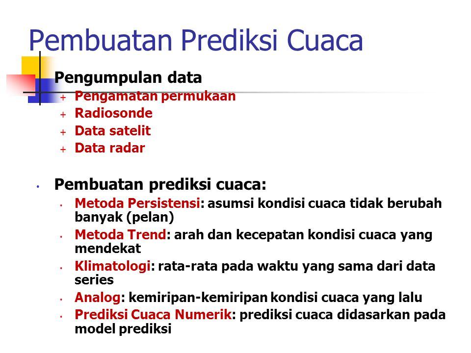 Pembuatan Prediksi Cuaca • Pengumpulan data  Pengamatan permukaan  Radiosonde  Data satelit  Data radar • Pembuatan prediksi cuaca: • Metoda Persi